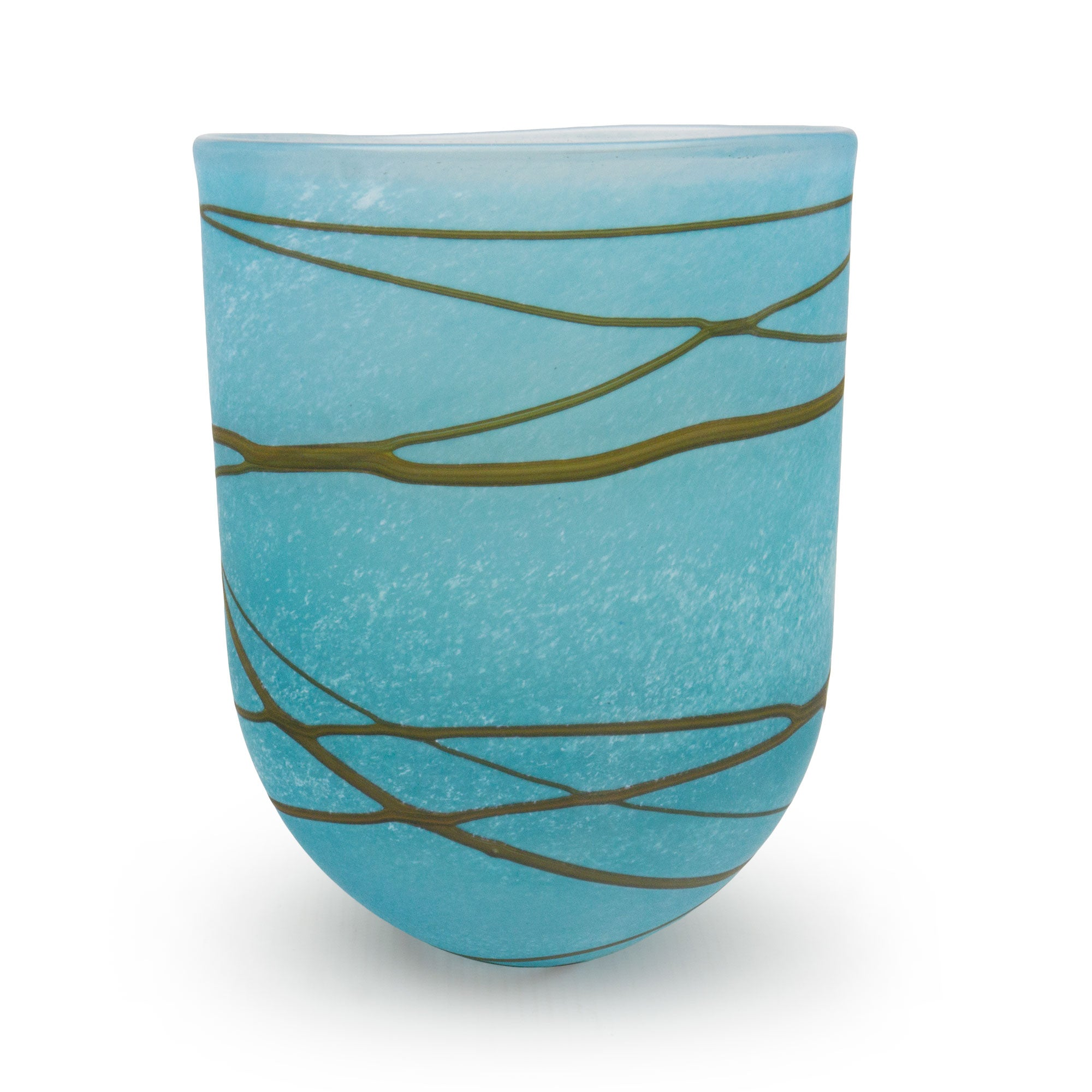 Random Trail Aqua Medium Open Bowl - SHAKSPEARE GLASS