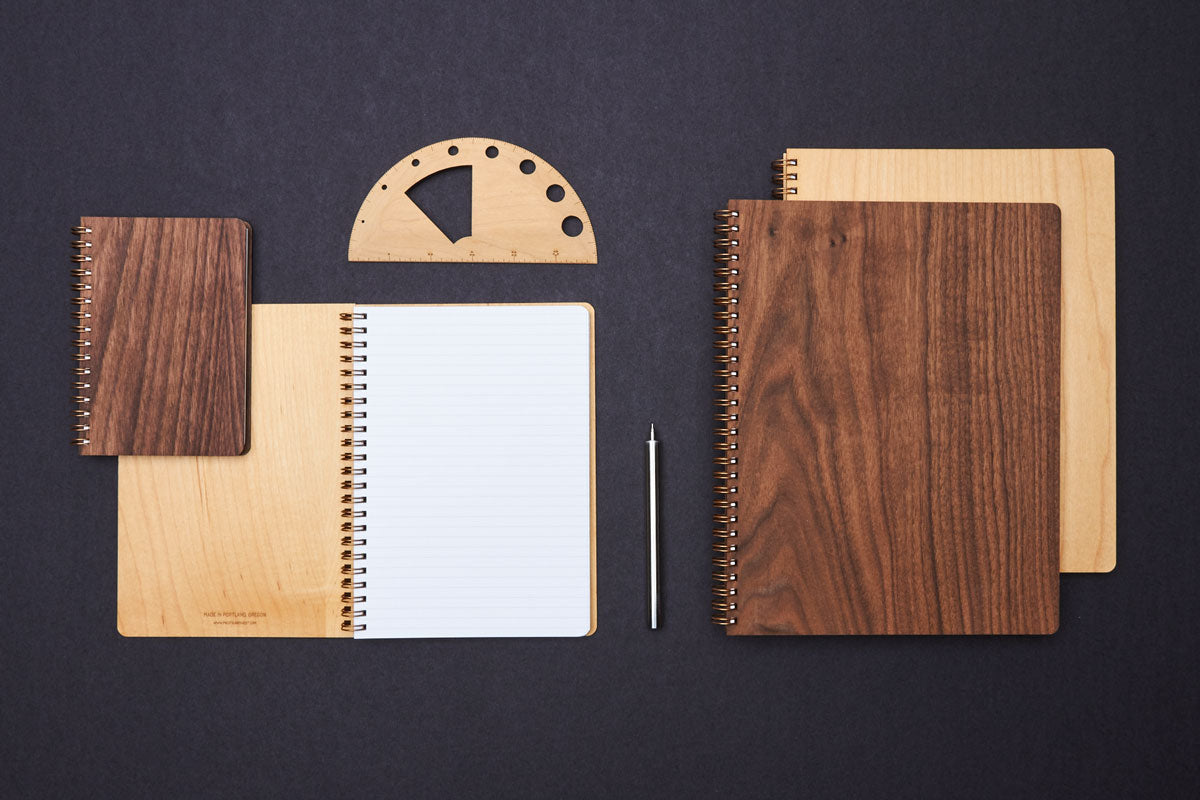 maple and walnut wood notebooks