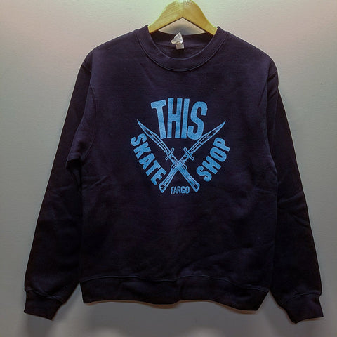 THIS | Daggers Crewneck - Dark Navy/Light Blue Ink