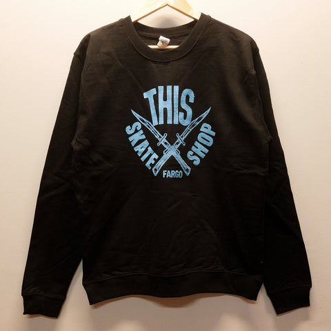 THIS | Daggers Crewneck - Black/Light Blue Ink