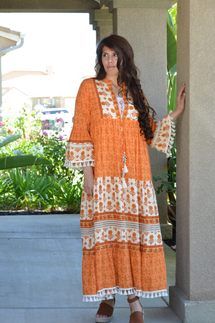 Carrie Bohemian Fringe Maxi Dress