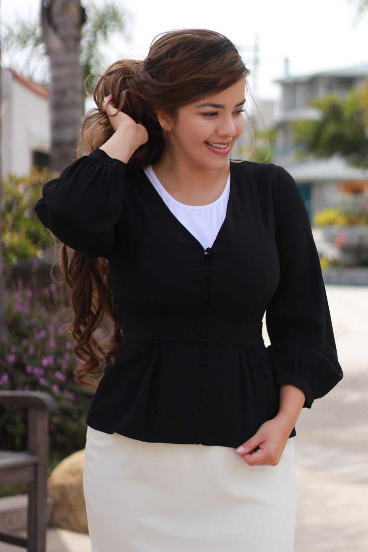 Sadie Black Peplum Jacket