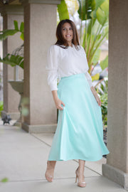 Natalia Mint Tea Length Skirt