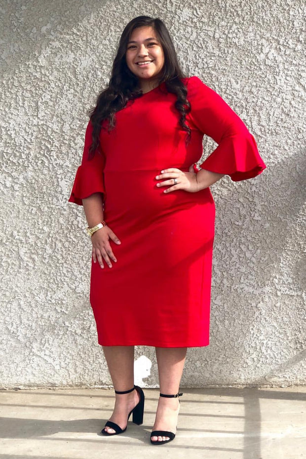 Lucca Red Bell Sleeve Dress