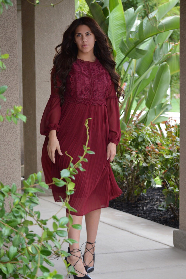 Lorena Lace Bodice Dress