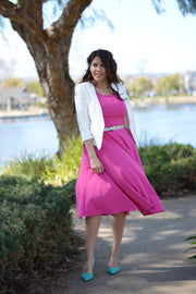 Cassandra Fuchsia Puff Sleeve Dress