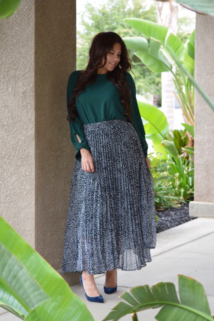 Ember Leopard Pleated Maxi Skirt