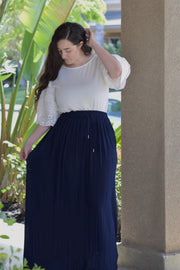 Reese Pleated Navy Maxi Skirt