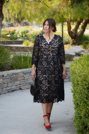 Alexis Black Lace Pleated Dress