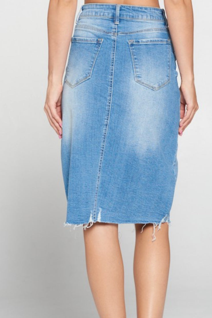 Rissa Blue Washed Denim Light Distressed Skirt