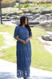 Arya Blue Maxi Lace Dress