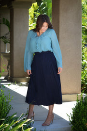 Aubrey Navy Pleated Skirt