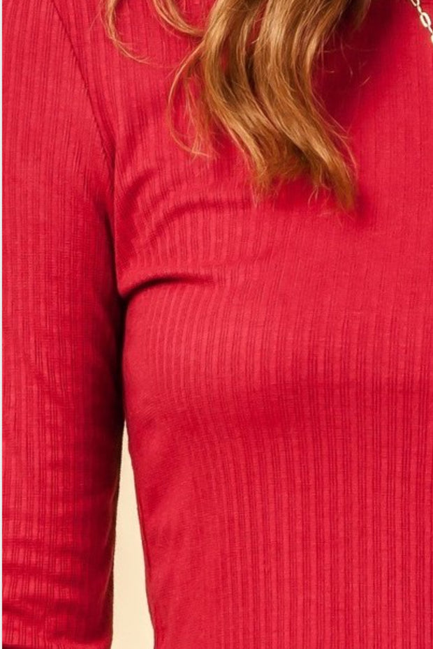 Miranda Red Ribbed Top