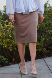 Penelope Taupe Pencil Skirt