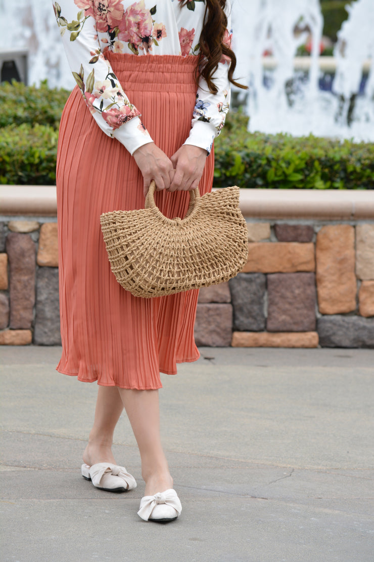 Annabel Pleated Peach Skirt