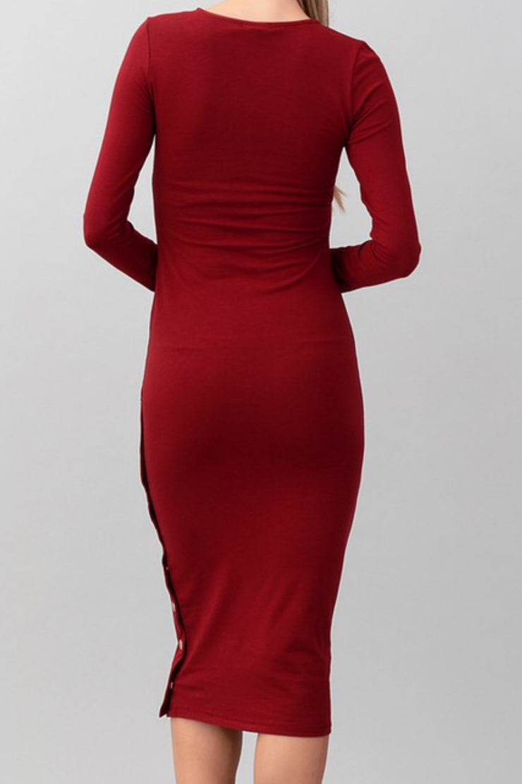 Vanessa Solid Burgundy Midi Dress