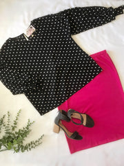 Tessie Black Polkadot Top