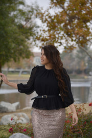 Nissa Black Peplum Top