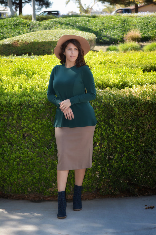 Heather Emerald Loose Peplum Style Top