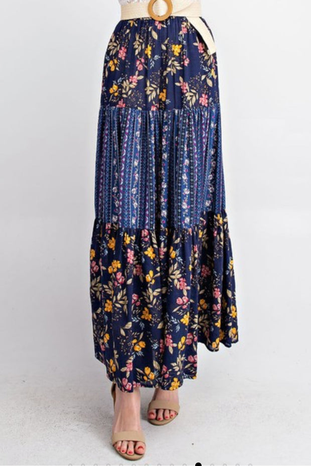Grace Navy Tiered Maxi Skirt