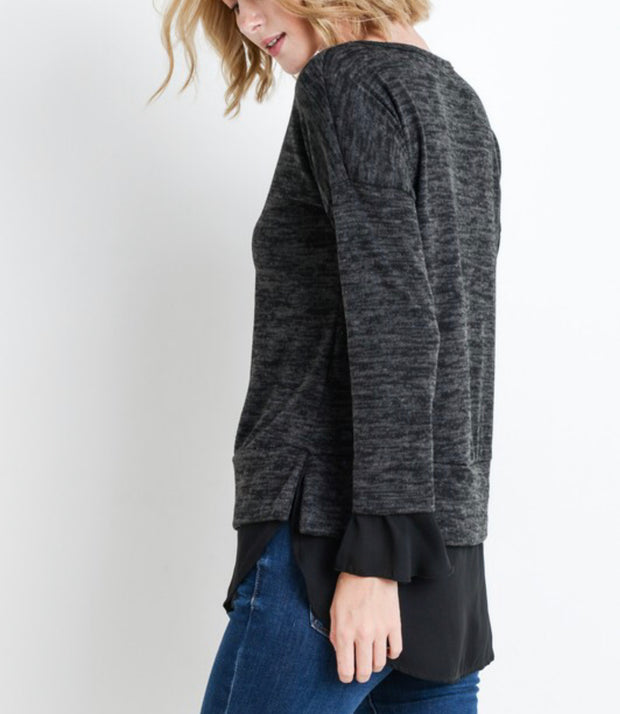 Faith Charcoal Top