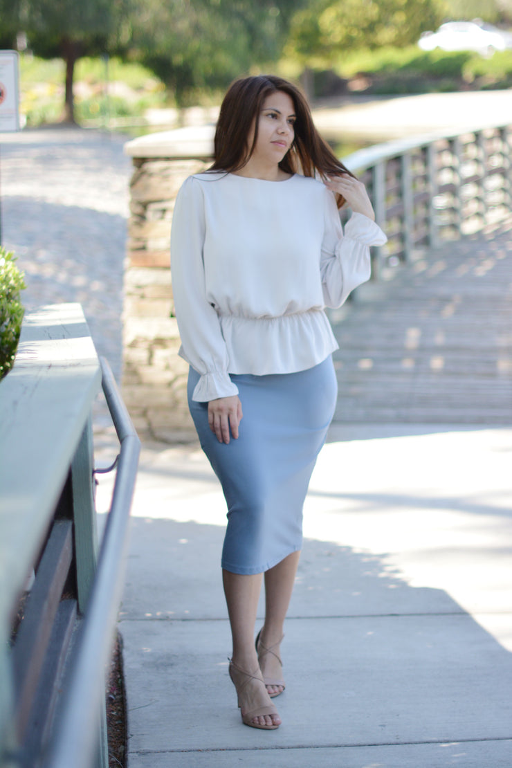 Suzette Bone Peplum Top