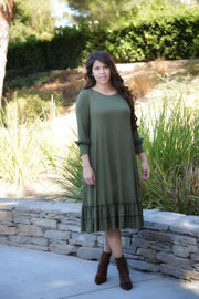 Aggie Olive Swing Ruffle Dress
