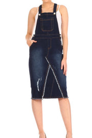 Lacey Distressed Dark Denim Overall