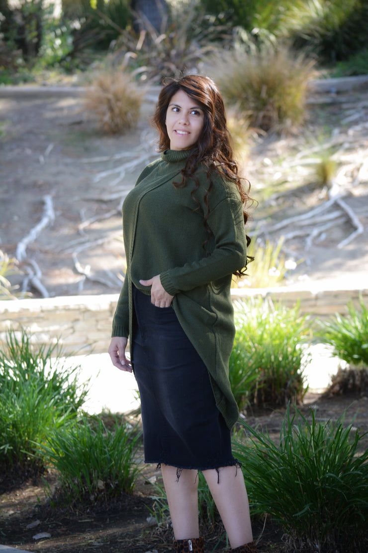 Agatha Dark Olive Green Wrap Sweater
