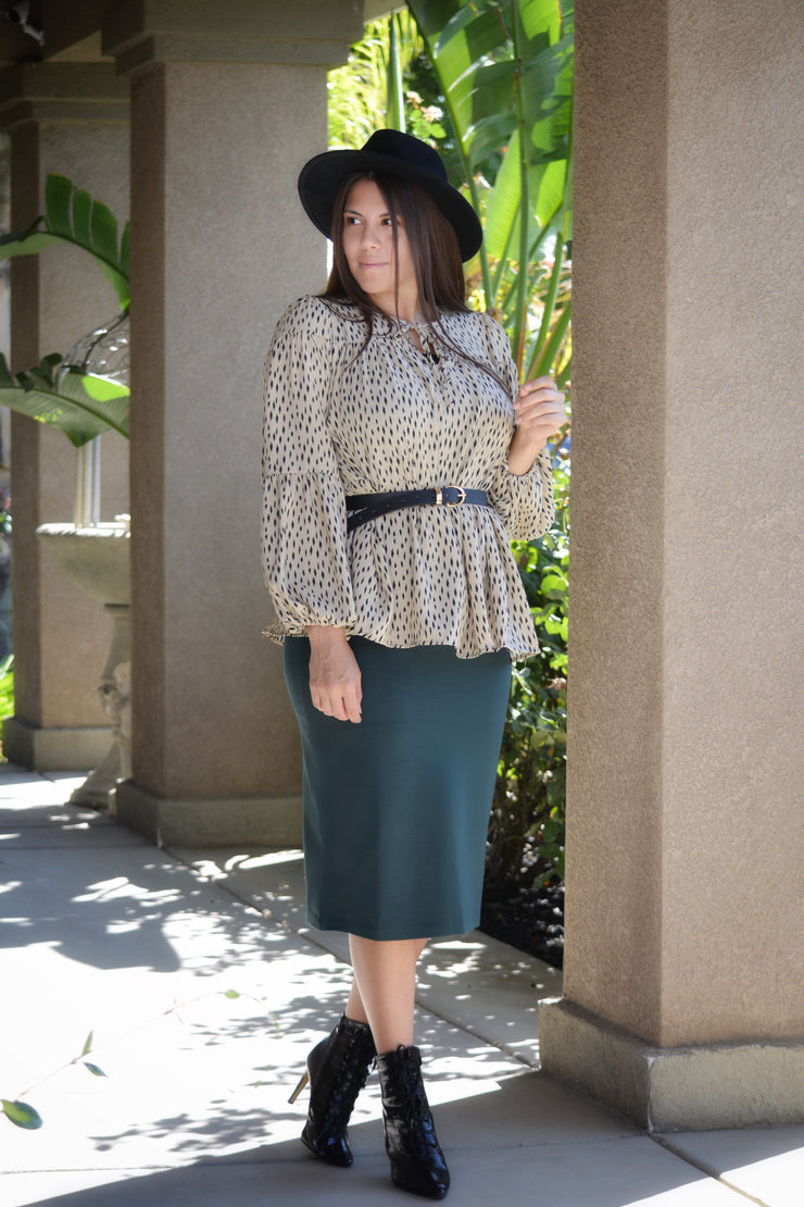 Penelope Green Pencil Skirt
