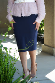 Penny Cotton Navy Pencil Skirt