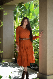 Octavia Rust Eyelet Dress