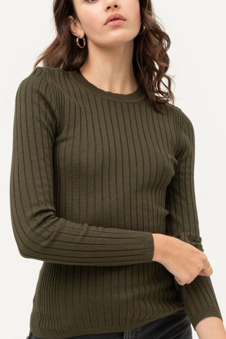 Esme Olive Ribbed Top