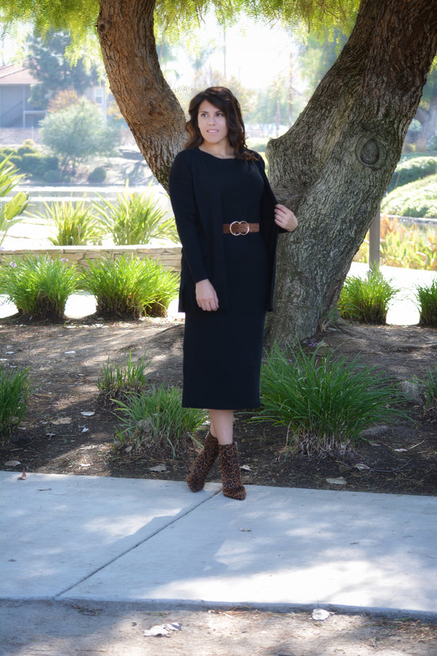 Adele Black Sweater Dress Set