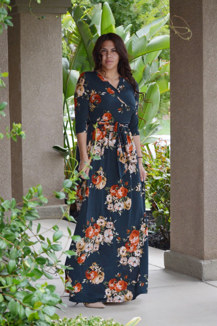 Annie Hunter Green Floral Maxi