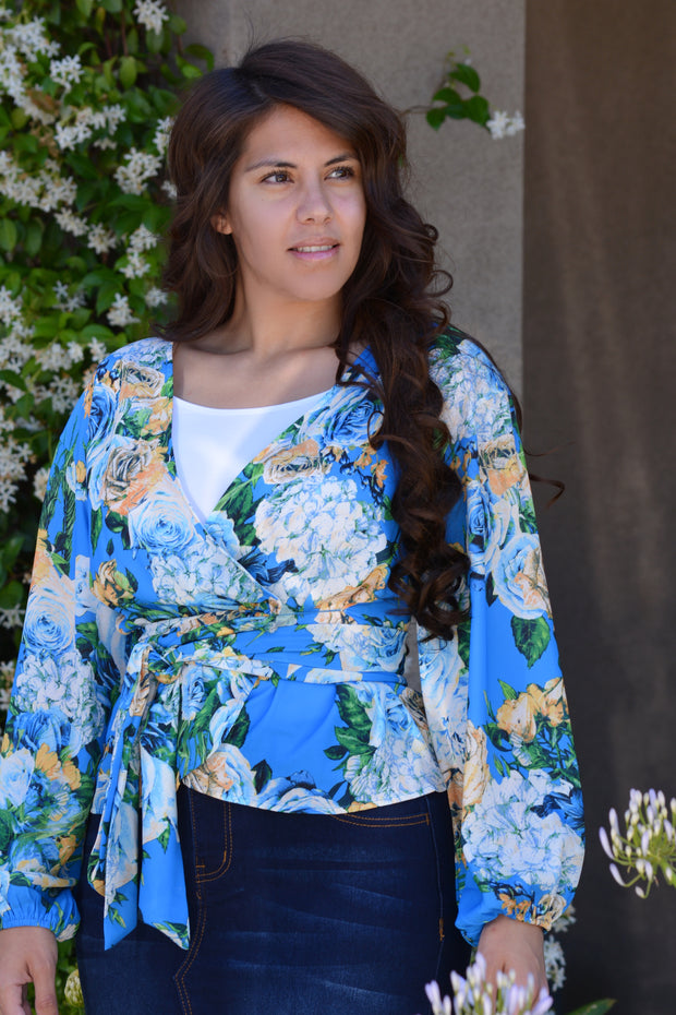 Zara Blue Floral Top