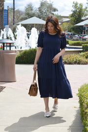 Ada Navy Tiered Dress