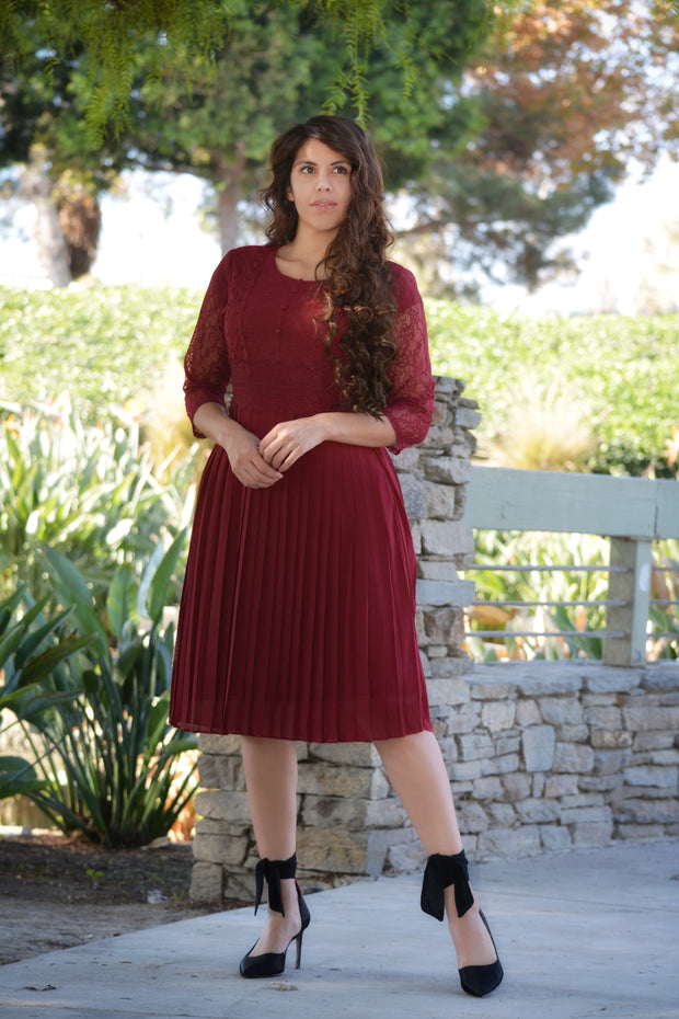 Evie Burgundy Lace Dress