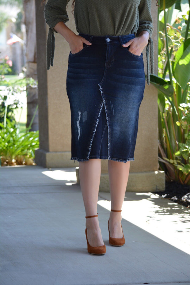 Opal Dark Denim Distressed Skirt