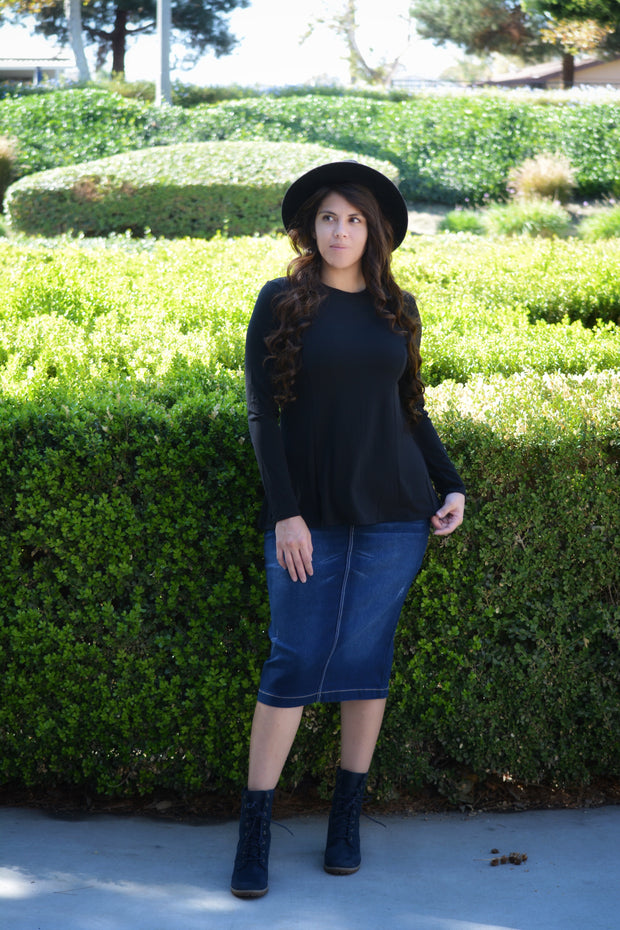 Heather Black Loose Peplum Style Top