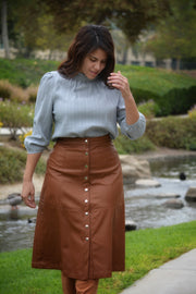 Selah Cognac Faux Leather Skirt