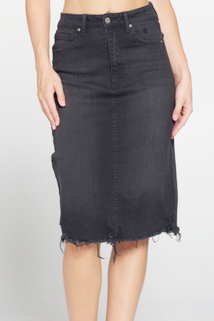 Rissa Black Washed Denim Light Distressed Skirt