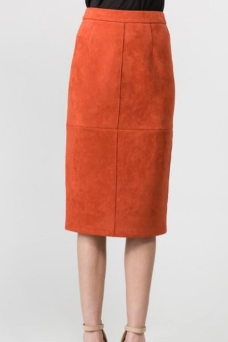 Cherie Rust Faux Suede Skirt