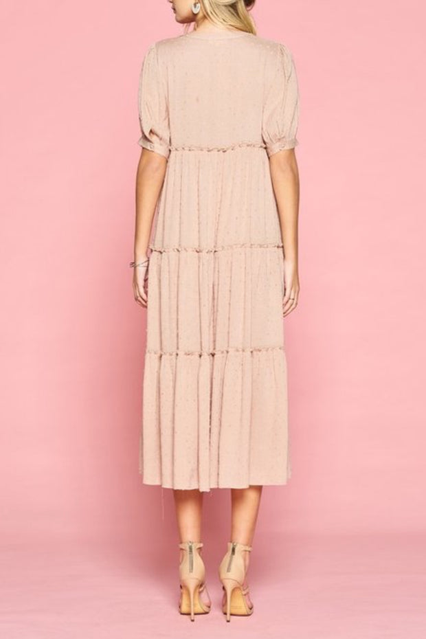 Lyla Taupe Embroidered Buttoned Swing Dress