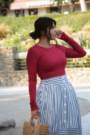 Krissy Striped Buttoned Skirt