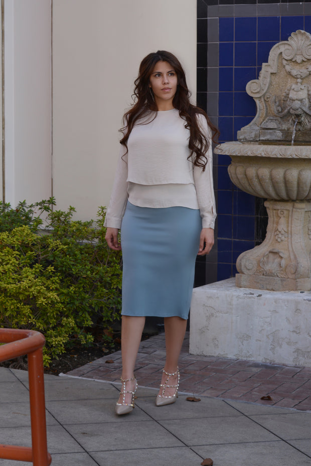 Penelope Blue Gray Pencil Skirt