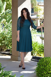Evie Teal Lace Dress