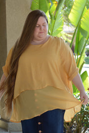Isabel Curvy Mustard Top