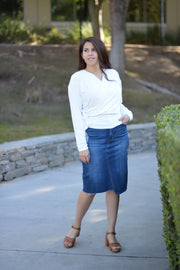 Running Errands Dark Wash Denim Skirt