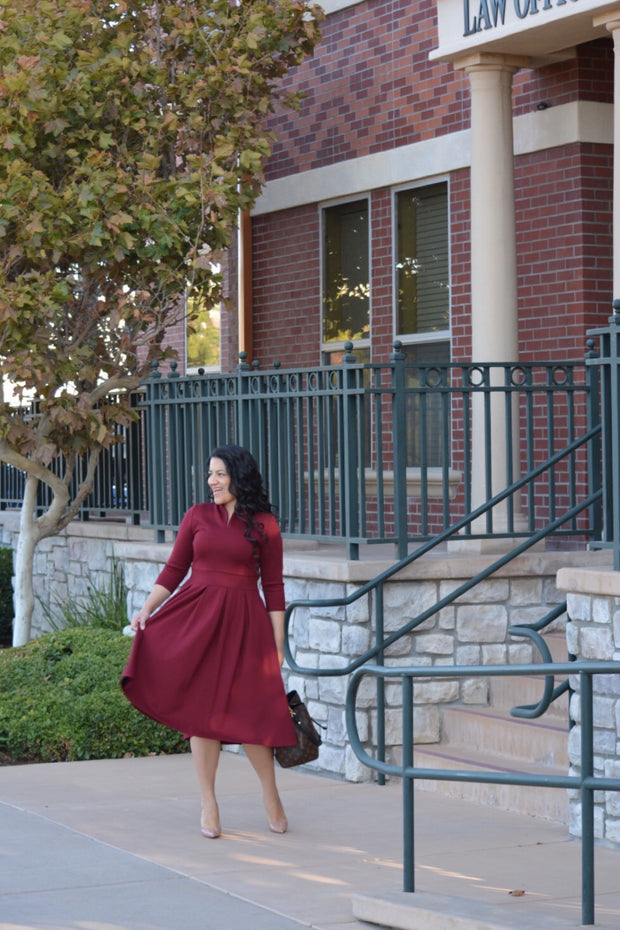 Santorini Burgundy Dress